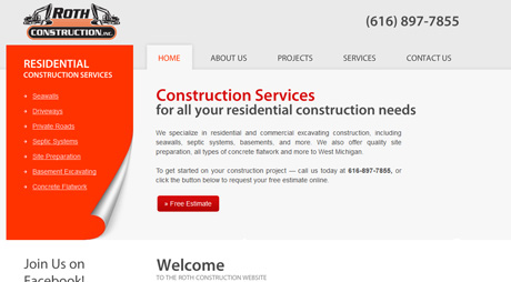 construction company web design grand rapids